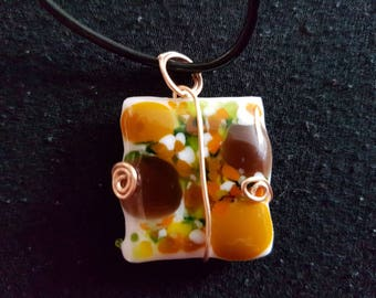 Handmade Glass Necklace: Autumn Leaves