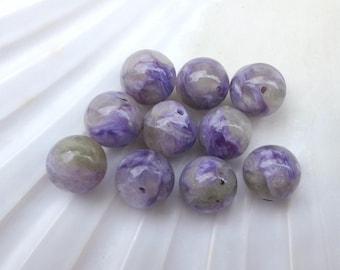 rare!! Charoite 8mm round pearls