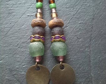 Earrings seed beads from Ghana and coconut