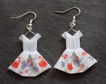 Earrings dresses washi tape with red flowers origami