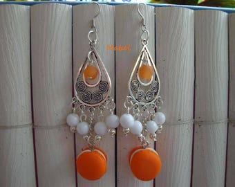 Macaroon orange and white lucite beads, dangle, wedding earrings, summer