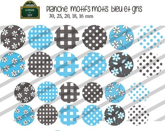 Collage sheet digital pattern dots, squares, blue and gray flowers for creating 30 mm to 16 mm cabochons