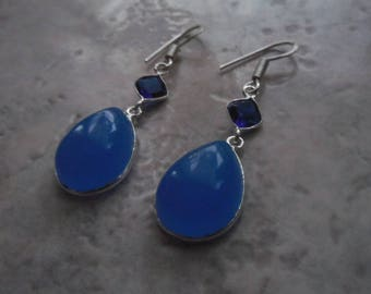 Sterling Silver 925 blue quartz and chalcedony earrings