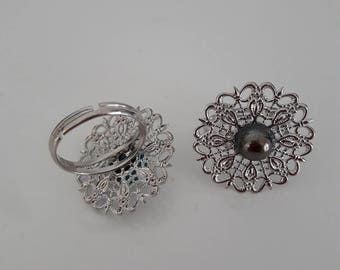 Filigree round silver plated Adjustable ring