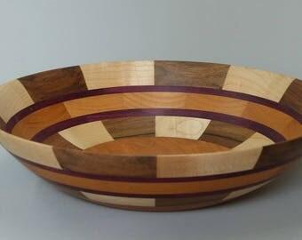 Turned wood fruit bowl