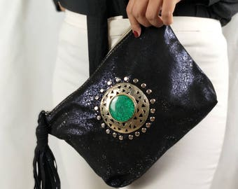 Iridescent black leather pouch