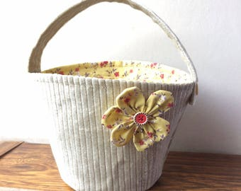 Silver work bag with a flower
