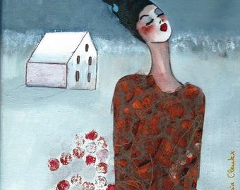 Felicie portrait woman on canvas 20 x 20 cm
