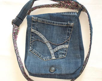 Liberty and recycled denim bag purple shoulder strap bag