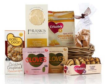 Gluten and Wheat Free Hamper Basket, Food Gift, Birthday Gift, Gluten Free, Wheat Free, Biscuits, Fudge