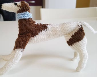 Brown and white whippet dog hand knitted