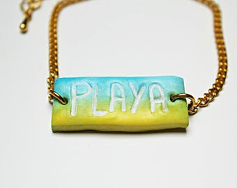 "Bracelet - Polymer clay ""beach"" sign"