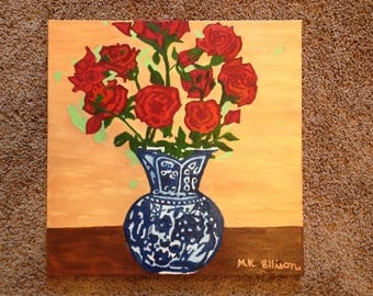 Red Roses In Bloom/ Blue Willow Vase