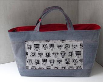 Recycled grey patchwork pattern tape black denim tote bag