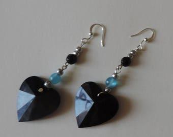 Black glass heart and Pearl blue resin earrings