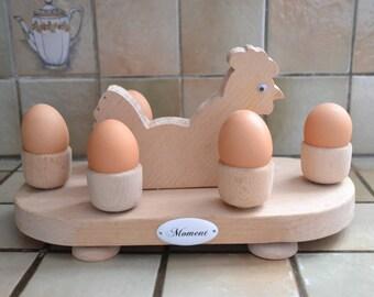 Set of beech wood egg tray