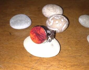 Wooden Rose adjustable filigree ring