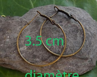 2 round hoops (1 pair) bronze 3.5 cm