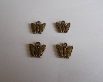 1 set of 4 Butterfly charms bronze