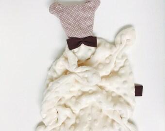 VELVET bear ecru, taupe and chocolate baby blanket/plush