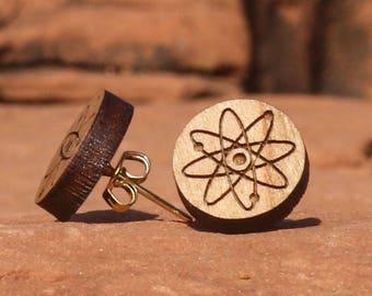 Atom Laser-cut Cherry Wood Post Earring