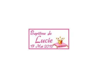 Labels favors baptism/newborn Princess Crown on pillow