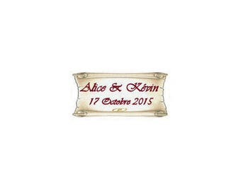 Sugared almonds wedding parchment labels