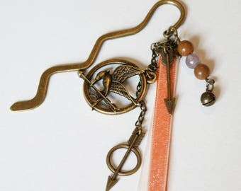 Hunger Games themed bronze metal bookmark
