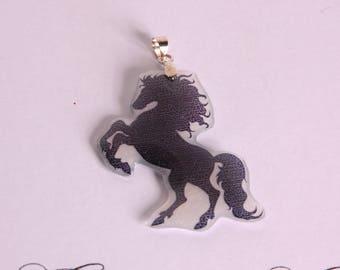 Black prancing horse pendant