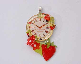 May challenge: fruits: clock, strawberry and red flowers pendant