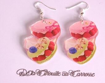Pistachio and raspberry macarons earrings