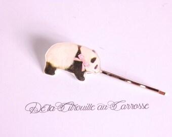 Kawaii panda hair clip, Pink Ribbon