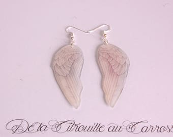 Bird wing earrings, pearly white and black