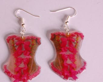 Earrings crazy pink Lace Corset style Marie Antoinette