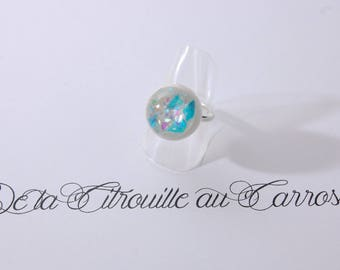 Ball ring, turquoise, iridescent and white