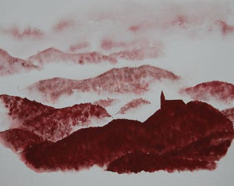 Watercolor landscape in the mist