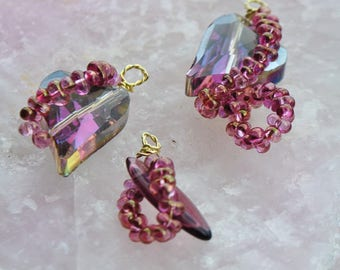 Faceted Crystal heart stained glass pendant beads and and light amethyst seed beads
