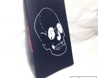 Handmade screen printed skull book