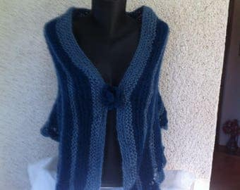 Mohair and wool striped blue shawl