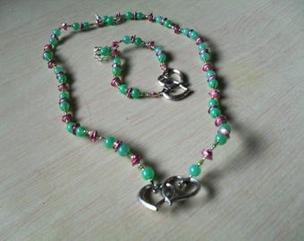 fine set (necklace and bracelet), colorful, modern (pink and green)
