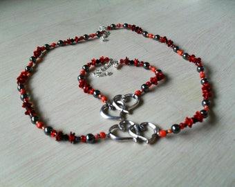 set (necklace and bracelet), fine, original (red and black)