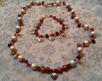 """finery """"heart"""" (necklace and bracelet) fine, classy, modern (red and silver)"""