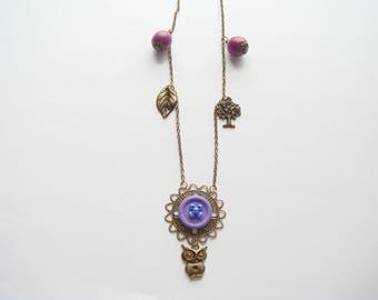 Bronze Pearl pendant necklace purple