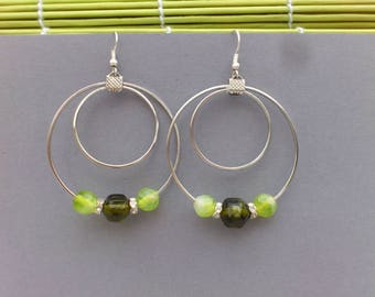 Large hoop earrings green glass beads