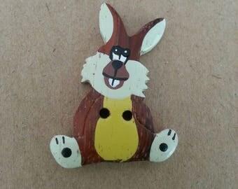 Wooden painted button fancy wood rabbit