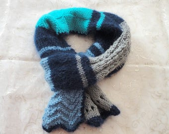 Scarf wool woman blue turquoise grey neck warmer, neck, scarf, snood woman blue grey