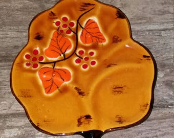 Vintage French Poet-Laval Ceramic Leaf Shaped Plate,Orange,Red,Leaf,Kitchen,Tableware,Gift,Unique, French Pottery