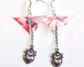 Pink origami butterfly earrings
