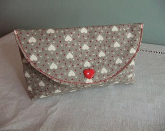 Print 'hearts' pouch lined red