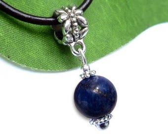 Silver plated sphere pendant - lapis lazuli